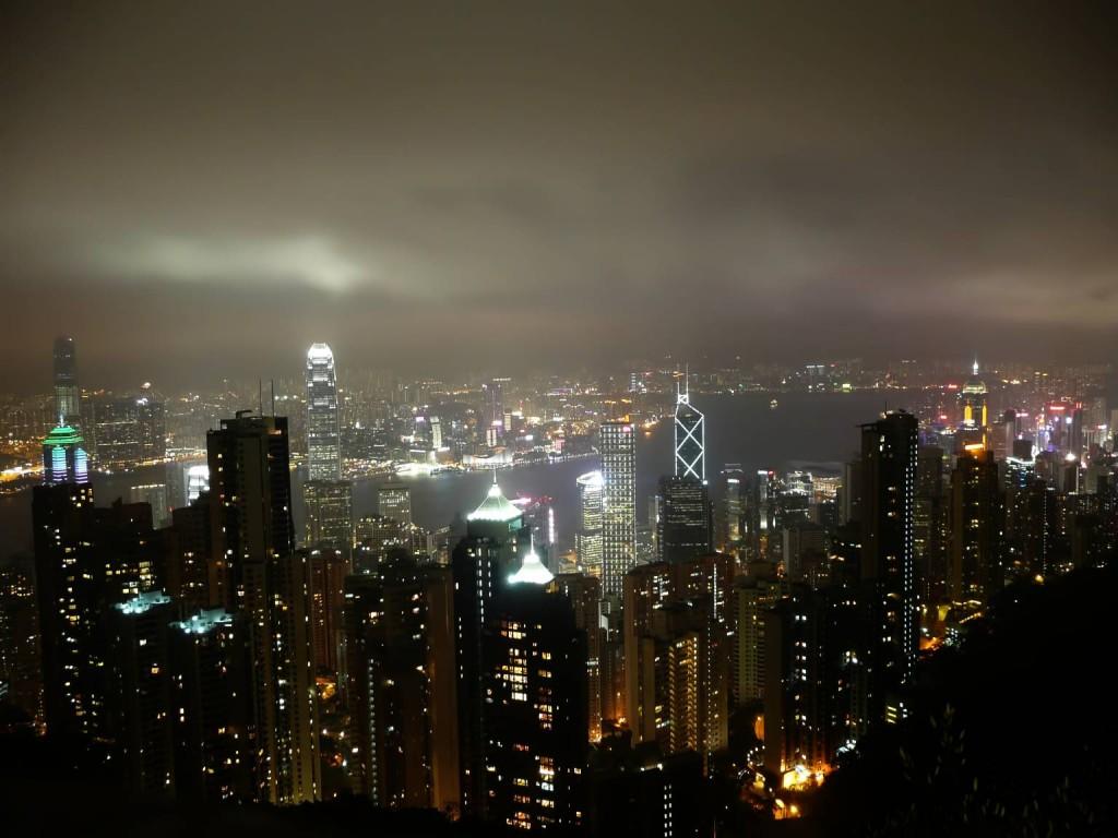 Výhled z Victoria Peaku v Hong Kongu