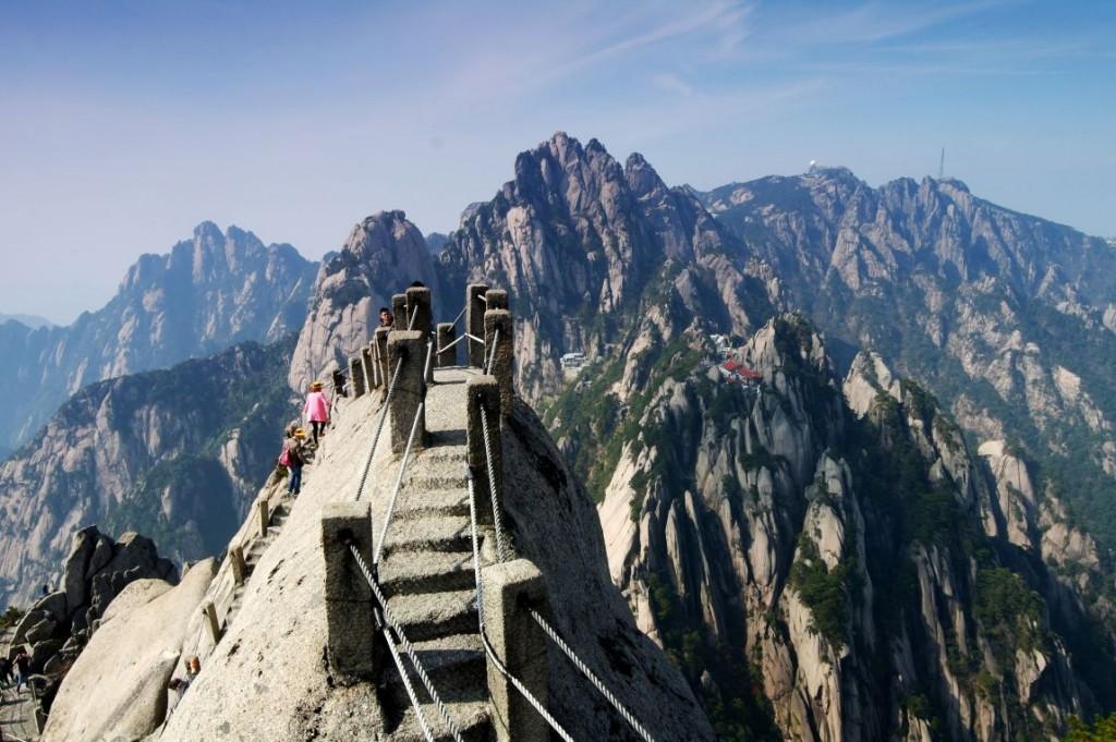 Výstup na vrchol Tiandufeng v národním parku Huangshan