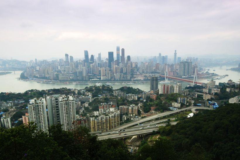 Výhled na Chongqing z hory Nanshan